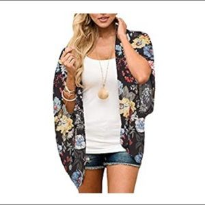 Other - Black Floral Kimono Loose Chiffon Cover Up Small